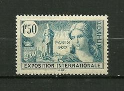 """FRANCE 1937   N° 336  """" Propagande Pour L'Expo. Intern. De Paris  """"      Neuf Avec Trace De Charnière - Neufs"""