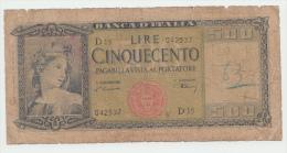 Italy 500 Lire 1947 G-VG Pick 80a 80 A - [ 1] …-1946 : Koninkrijk