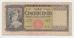 Italy 500 Lire 1947 VG Pick 80a 80 A - [ 1] …-1946 : Koninkrijk