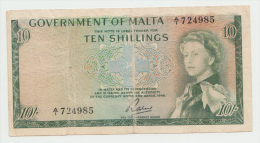 Malta 10 Shillings 1949 (1963) AVF Pick 25 - Malta