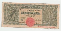 "Italy 50 Lire 1944 ""F"" Pick 74 - 50 Lire"