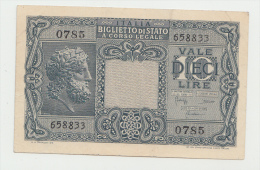 ITALY 10 Lire 1935 (1944) VF+ P 32b 32 B - [ 1] …-1946 : Kingdom