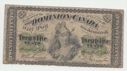 Dominion Of Canada 25 Cents 1870 VG Pick 8a  8 A - Canada