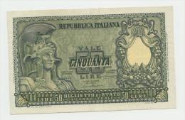 ITALY 50 Lire 1951 XF+ P 91a 91 A - [ 2] 1946-… : Repubblica