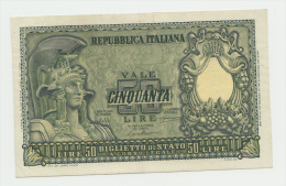 ITALY 50 Lire 1951 XF+ P 91a 91 A - [ 2] 1946-… : Républic