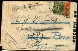 73729 - 2 TP, Tarif  25 C, Cad LE HAVRE INGOUVILLE 4 1917 Avec Censure Pour Les ETATS UNIS TB - Marcophilie (Lettres)