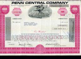 X CERTIFICATO AZIONARIO PENN CENTRAL COMPANY 1976 PORPORA RARO - Automobilismo