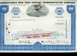 X CERTIFICATO AZIONARIO PENNSYLVANIA NEW YORK CENTRAL TRANSPORTATION COMPANY 1968 - Trasporti