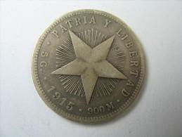 CUBA 20 VEINTE  CENTAVOS 1915 0.900 SILVER WEIGHT 4.72 GRAMS LOT 33 NUM 2 - Cuba