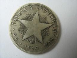 CUBA 20 VEINTE  CENTAVOS 1916 0.900 SILVER WEIGHT 4.87 GRAMS LOT 33 NUM 3 - Cuba
