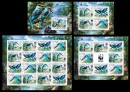 S. TOME & PRINCIPE 2014 - WWF Kingfisher - YT 4518-21 + BF740; CV = 119 € - Unused Stamps