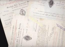Assurance - Gresham Life Assurance Society , Agent Aubin, Channel Islands Jersey - Lot 5 Documents 1880/1886 - Royaume-Uni