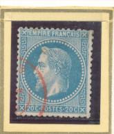 N°29 VARIETE CACHET A DATE ROUGE. - 1863-1870 Napoleon III With Laurels