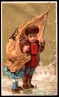 Chromo Toilerie Jouffroy Ferreux à Besançon. Russie, Couple Enfantin En Costume Avec Drapeau. - Trade Cards