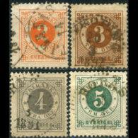 SWEDEN 1886 - Scott# 40-3 Horn On Back 2-5o Used (XR633) - Suède