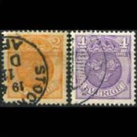 SWEDEN 1910 - Scott# 68-9 Crown 2-4o Used (XR756) - Suède