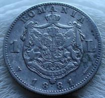 1 LEU CAROL I DOMINUL ROUMANIE 1881 V EN ARGENT TTB - Romania
