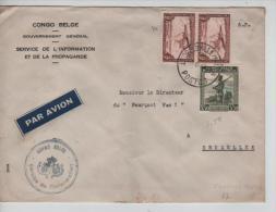 Belgisch Congo Belge TPA 10(2)-242 S/L.Avion En Franchise Partielle S.P. C.Léopoldville En 1947 PR1238 - Congo Belge