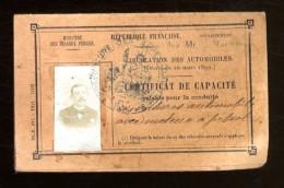 CERTIFICAT DE CAPACITE POUR LA CONDUITE AUTOMOBILE AVEC MOTEUR A PETROLE  -  NICE JUIN 1915