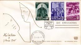 FDC-Brief VATICAN 1960, Weltflüchtlingsjahr 1959-60, Schöne 3 Fach Frankierung, Sonderstempel - FDC