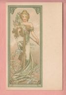 OLD 1900'S  POSTCARD ILLUSTRATED  ALPHONS MUCHA ART NOUVEAU JUGENDSTIL WOMAN