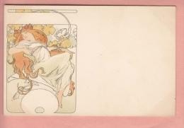 OLD 1900'S  POSTCARD ILLUSTRATED  ALPHONSE MUCHA ART NOUVEAU JUGENDSTIL WOMAN (2)
