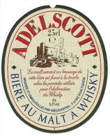 Ancienne étiquette Bière Adelscott  Bière Au Malt à Whisky  25 Cl  Bordure Dorée  Adelshoffen  67 - Beer