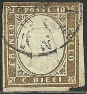 1858-63 - SARDEGNA - 10 CENT. - Cg - SIENA - VARIETA� -  SIGNED - SPL