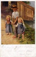 1928? BUB UND ZWEI MÄDCHEN - Künstlerkarte - Jobst - Szenen & Landschaften