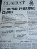 COMBAT N� 8933 du 15/03/73 : le nouveau programme commun / gr�ve dans la facult�s de m�decine / tribunes de Yves Le Tac