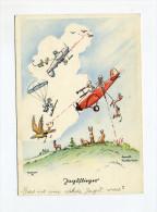 1942 3.Reich farbige illustrierte Humorkarte Jagdflieger per Feldpost Salzburg Feste gelaufen