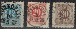 Suède - 1872 - Y&T N° 20, 21, 23, B Dent 14, Oblitérés - Used Stamps