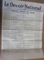 """25 Déc 1939 Journal """"Le Devoir National""""Fédération Nationale Femme Independant De Tout Parti Politique Masculin - Newspapers"""