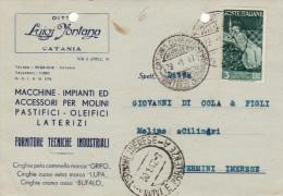 "CATANIA  /   Cartolina Pubblicitaria "" Ditta Luigi FONTANA - Macchine per Molini  "" Firma  _ Viaggiata 28.12.1947"
