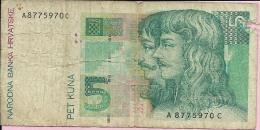 Banknotes - 5 Kuna, Zagreb, 1993., Croatia - Croatie
