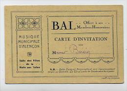 Carte D'INVITATION Au BAL Offert Par La Musique Municipame D'ALENCON à Ses Membres Honoraires Salle Des Fêtes Halle Aux - Cartes