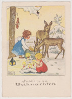 Fr�hliche Weihnachten, Engel, Rehe, K�nstlerkarte, Martha Wessels, Feldpost, Obersontheim