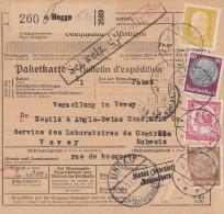 DR Paketkarte Mif Minr.437,513,526,555 Hegge 14.2.35 Gel. In Schweiz - Deutschland
