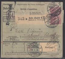 DR Paketkarte Mif Minr.85II, 87II, 113,9x 115e Geprüft Halle 3.4.20 Gel. Nach Schweden - Allemagne