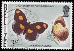 Belize Scott # 348, 3c multicolored (1974) Butterflies (Catonephele numilia), Used