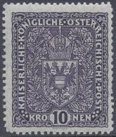 AUSTRIA 1916 10k DARK VIOLET Nº161 CV 80€