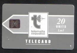MALTA - USED 20 UNITS PHONECARD - LM1 1992 - CHIP SI-4 ( BATCH NO.C311140995 ) MATT  RARE  - - Malta