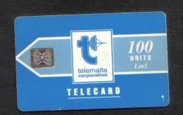 MALTA - TELEMALTA 100 UNITS CARD  -  LM5  1992 - CHIP SI-4 ( BATCH No  5 DIGITS IMPRESSED  ) MATT RARE  - - Malta