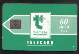 MALTA - USED 60 UNITS PHONECARD - LM3 1992 - CHIP SI-4 ( BATCH NO.5 DIGITS IMPRESSED ) MATT  RARE  - - Malta