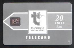 MALTA - USED 20 UNITS PHONECARD - LM1  1992 - CHIP SI-4 ( BATCH NO.5 DIGITS IMPRESSED ) MATT  RARE  - - Malta