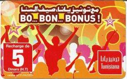 @+ Tunisie - Carte Tunisiana - Bonus - 5 Dinars - Tunisie