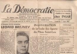 journal journaux LA DEMOCRATIE de la R�union � St Denis 07 aout 1964 Brejnev