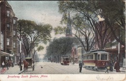 Broadway South Boston, Mass. - Horse And Wagon, Streetcars, Church - Boston