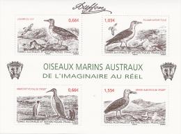 French Antarctic (FSAT), Birds By Buffon, 2014, MNH VF Souvenir Sheet Of 4 - Unused Stamps