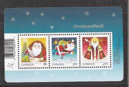 CANADA 2014, #2796, CHRISTMAS  SANTA CLAUS  SOUVENIR SHEET Of The 3 RATES  MNH - Hojas Bloque